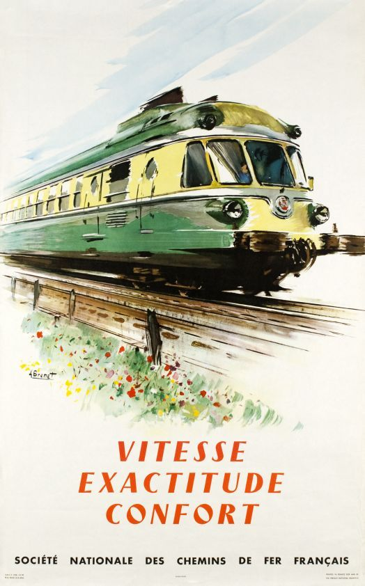 Brenet Albert / 1958    SNCF, Vitesse, exactitude, confort      CodeA+1173  ArtistBRENET Albert  TitleSNCF, Vitesse, exactitude, confort  CountryFrance  Technique of printingOffset  Year of printing1958  Dimensions62 x 99 cm / 24 x 39 inch  PrinterPrinted in France for and by SNCF  ConditionA  ValueFrom 500 to 850 CHF