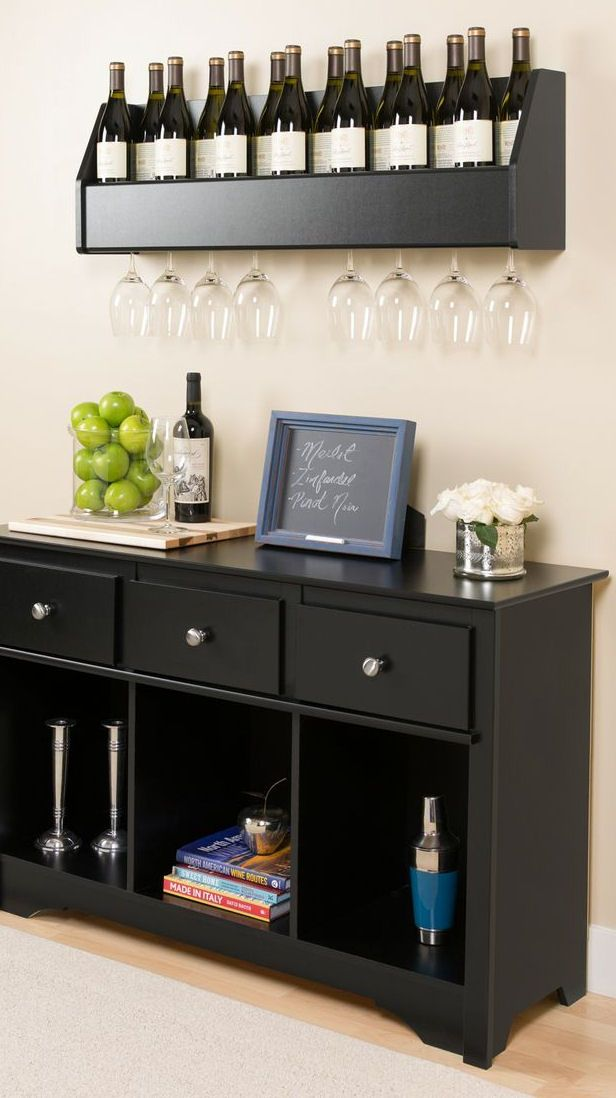 prepac floating wine rack furniture wine spacesaving - Wine Rack Table