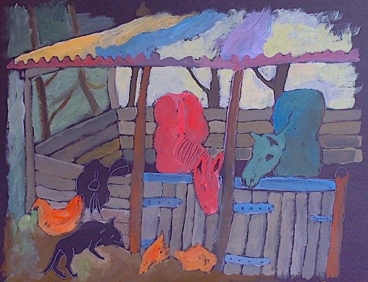 Painting of a farmyard scene.  Gouache and Acrylic. Helen Mudge
