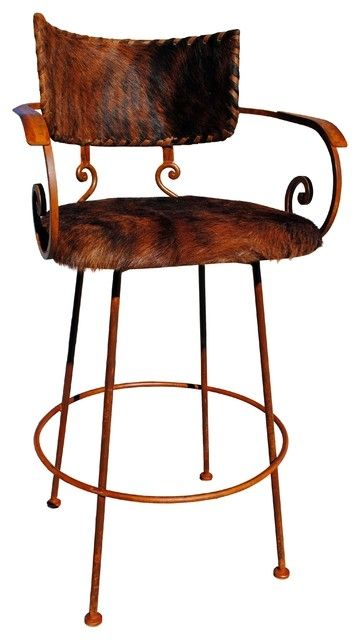 Chamizal Wrought Iron Bar Stool Cowhide Southwestern With Regard To Rod Stools
