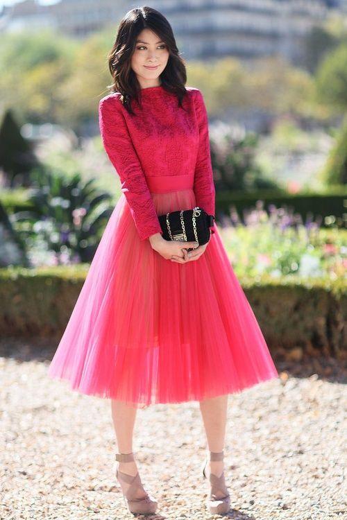 Falda tul roja
