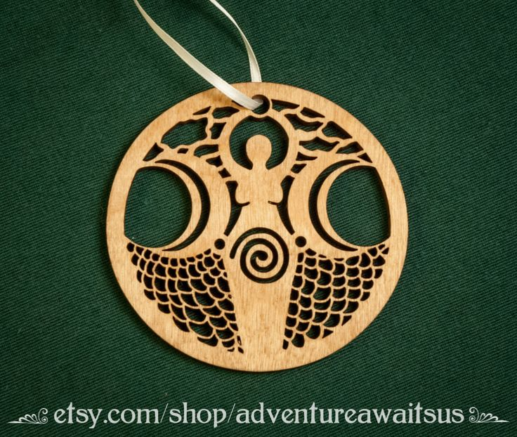Moon/Water Goddess Ornament - wood laser cut maine holiday Christmas yule solstice decoration pagan wiccan witch magick Diana Luna Yemaya by AdventureAwaitsUs on Etsy https://www.etsy.com/listing/473518520/moonwater-goddess-ornament-wood-laser
