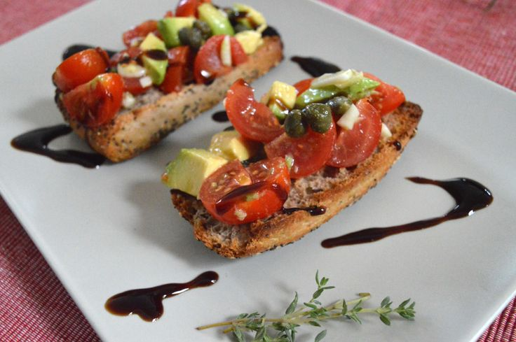 Avocado & Cherry Tomato Bruschette with Balsamic Reduction