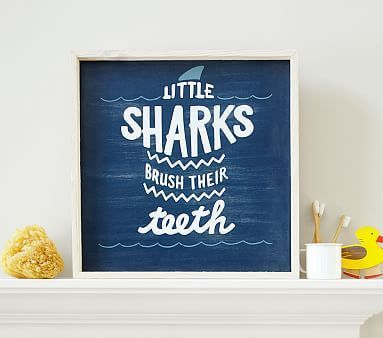 Sharks Brush Their Teeth Art from Pottery Barn Kids - Try on wood or canvas
