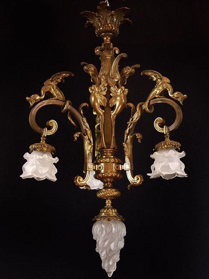 antiker  französischer  Kronleuchter Lüster  Deckenlampe Jugendstil um 1910/1920