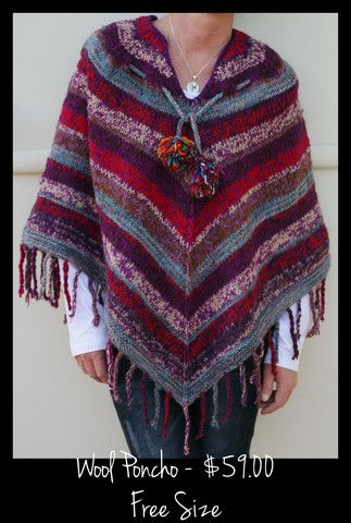 HH0059 KNITTED WOOLEN PONCHO http://beentobali2.com/