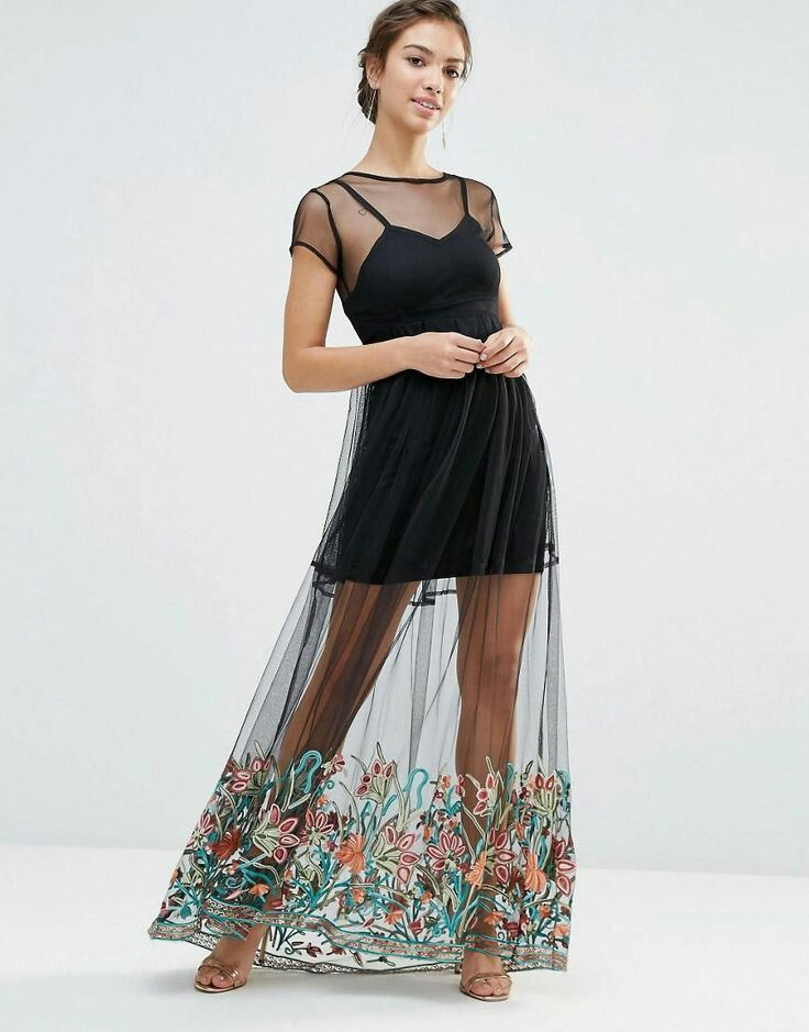 Long tulle transparent dress