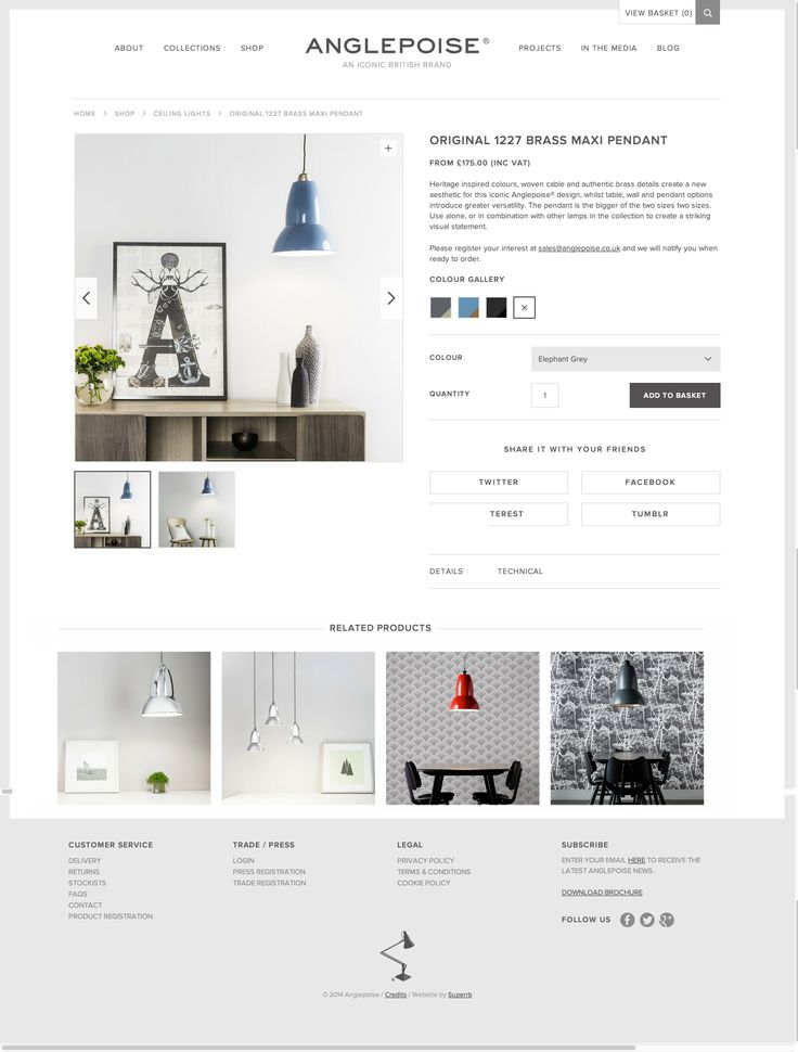 Page produit #responsive - https://www.anglepoise.com/product/original-1227-brass-maxi-pendant