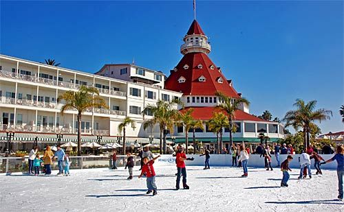 Hotel del Coronado... Ice skating on the beach!
