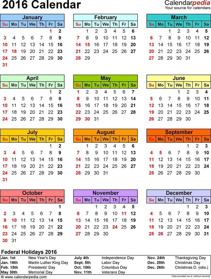 Více než 25 nejlepších nápadů na Pinterestu na téma 2016 Calendar Pdf - printable calendar pdf