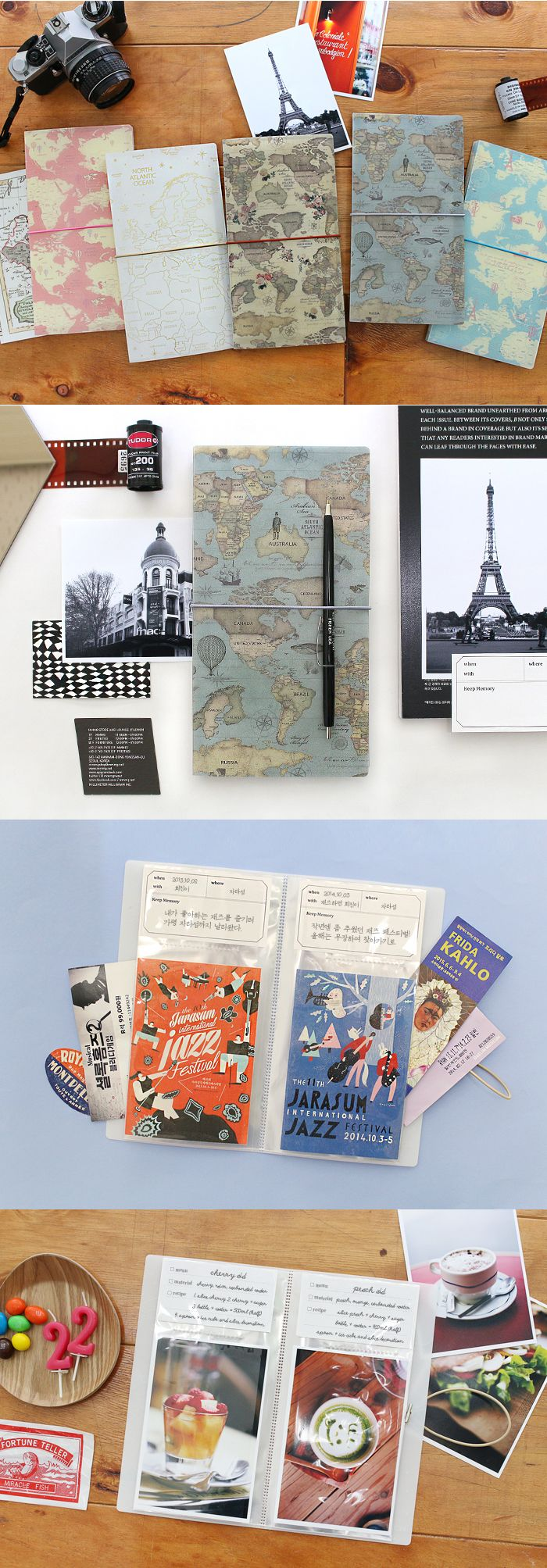 World Map 4×6 Photo Album is designed to allow you to record and write memos along with your photos. You can also hold up to 40 Instax Mini photos instead of memos!