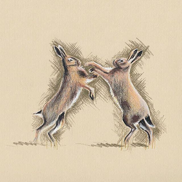 ✨  Happy Easter Lovelies!  ✨  #BillSkinner #illustration #Hares #hareillustration #Easter
