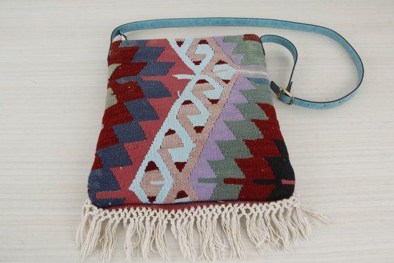 Turquoise Kilim Bag - Crossbody Bag - Messenger Bag - Stylish Cross-body Bag - Designer Turquoise Bag - Bohemian Style Tapestry Bag