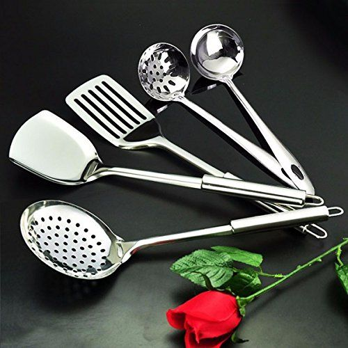 Stainless Steel 5pcs Cooking Set Spoon Colander Shovel Kitchen Tools -- Learn more by visiting the image link.