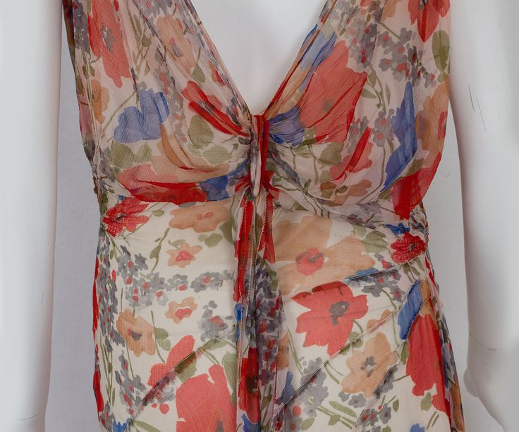 1930-е годы на одежду Vintage текстиля: # 2818 Цветочные шифоновое платье