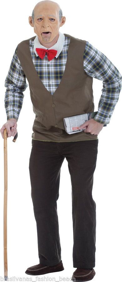 Adult Geezer Grab NGo Halloween Party Funny Costume Old Man Fantasia Homem Velho #Costume