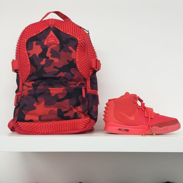"""""""@sprayground Red Spython x @nike Yeezy 2 Red Octobers  Both in store at Fresh Laces @boxpark"""""""