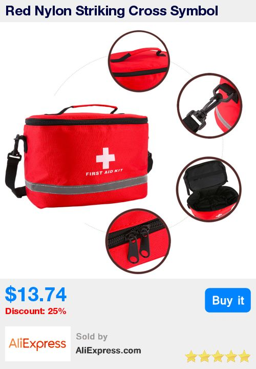 Red Nylon Striking Cross Symbol High-density Ripstop Sports Camping Home Medical Emergency Survival First Aid Kit Bag Outdoors * Pub Date: 00:56 Apr 13 2017
