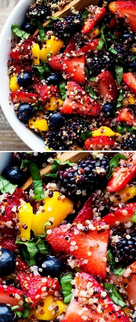Honey Lime Quinoa Fruit Salad~this salad is SO refreshing with fresh fruit and the honey lime!!