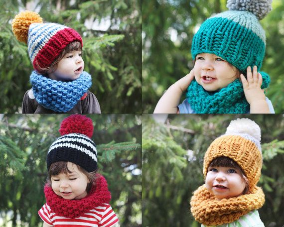 gift set baby or kid knitted hat and cowl emerald by nanoutriko