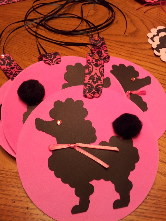 Shades of Pink Poodle Accessory Party Package / Wreath & Hanging Foam Decor