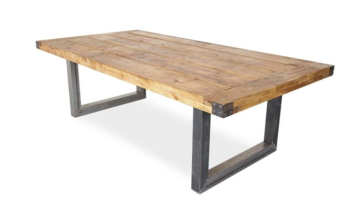 <strong>Description:</strong> Industrial Design solid timber table with Steel legs and corner detail Available in Rustic (pictured) or Natural colour <strong>Size:</strong> 2400 x 1200 x 760 High <strong>Other sizes Available: </strong>1800 x 1000 - $1199 3200 x 1200 - $1699