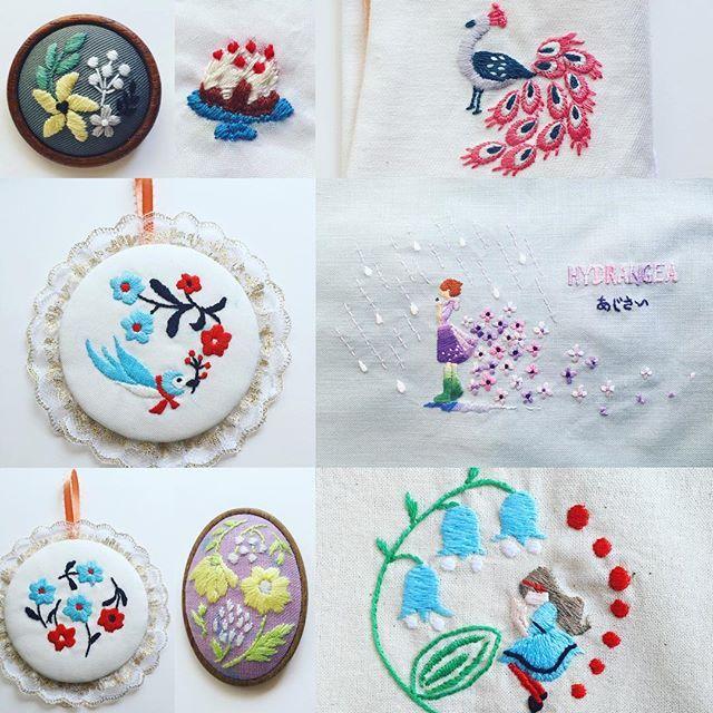 西荻窪の刺繍教室『アンナとラパン』参加者さんの作品♡ 刺繍の周りにレースを付けている方も! ・ ・#チクチク #日々の暮らし #刺繍部 #丁寧な暮らし…