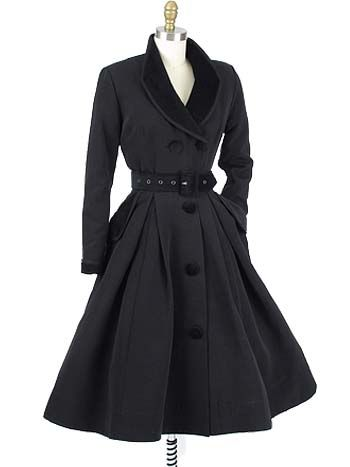 "Velvet Trimmed Vintage Style Black ""New Look"" Inspired Coat DressThe ""Fontaine"" is an elegant vintage style black coatdress inspired by the Dior ""New Look"" fit and flared silhouette that revolutionized fashion from the late 40s into the 50s and 60s.  Can be worn as a dress or as a lightweight coat."