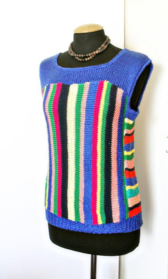 Top in maglia di cotone colorato con strisce, rosa, rosso, verde, blu, giallo, estate moda per donne, ragazze, Hippie, Boho, Funky Top