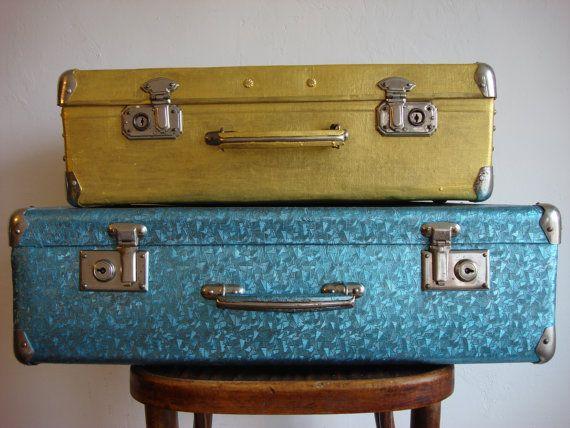 Vintage 50s fiber suitcase handiwork от OldMoscowVintage на Etsy