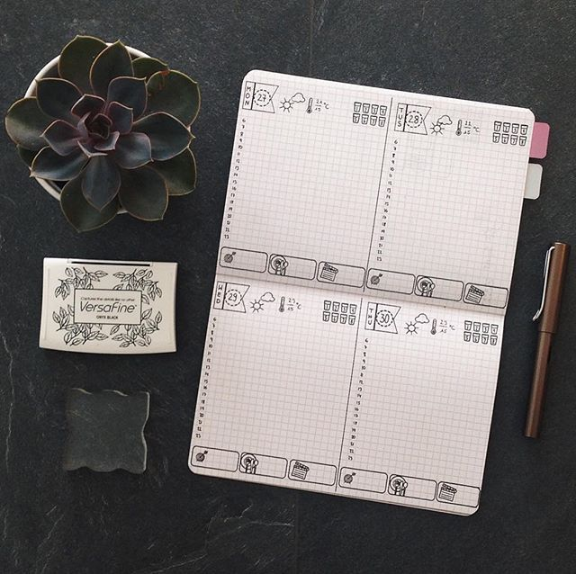 Next week I want to give this vertical layout a go. I think that I will like it because there is a lot of space for appointment and todos. Did anyone try to use the notebook this way? #bulletjournal#bujojunkies#bulletjournalcommunity#planner#plannercommunity#plannergirl#filofax#filofaxing#stationary#wearebujo#germanbujojunkies#plannerstamps#sweetstampshop#studiol2e