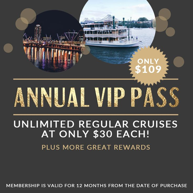 Love cruising? Order an Annual VIP pass and get unlimited regular cruises at only $30 each for 12 months! Plus many more great rewards. Buy your VIP pass now for only $109!   #brisbaneriver #kookaburraqueen #functions #venue #brisbane  #event #water #boat #cruise #lights #pretty #city #weddings #functions #events #dinner #lunch #hightea #annual #pass #vip