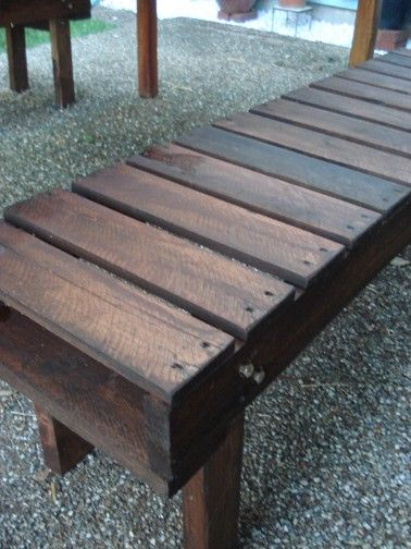 "Lovely benches made from pallets (with very good instructions). It's amazing how a couple of coats of your favorite stain can take a project from ""Wow!"" to ""WOWWW!!!"""