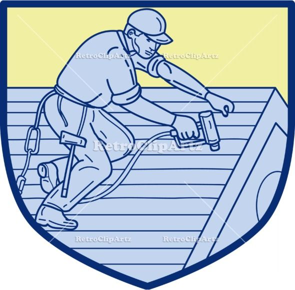 Roofer Working On Roof Shield Mono Line Vector Stock Illustration
