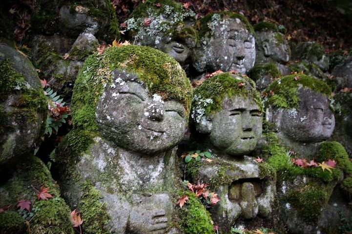 Otagi Nenbutsu-Ji is a Buddhist temple in Kyoto, Japan that features over 1,200 stone figures representing Rakan, or disciples of Shaka (the founder of Buddhism), that were mostly carved by amateurs from across the country under the guidance of sculptor Kocho Nishimura