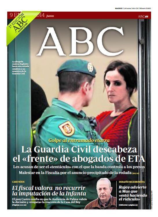 La portada de ABC del jueves 9 de enero | Portadas