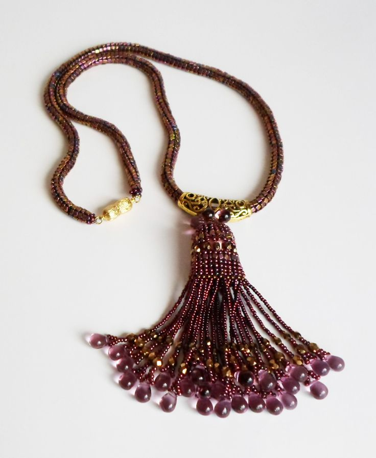 3047 Amethyst drops necklace. Vermail magnetic clasp. $150   by Darlene Pfahl