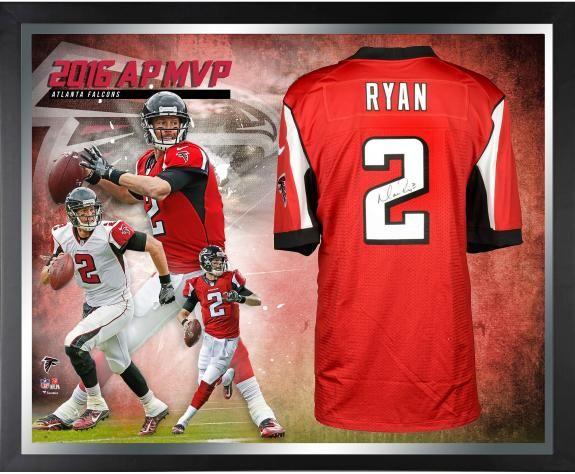 Matt Ryan Atlanta Falcons Framed Autographed Red Nike Elite Jersey 2016 Nfl Mvp Collage Atlanta Falcons Red Nike Framed Jersey