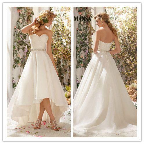 2015 белый шифон короткий передний длинные назад свадебные платья бисером Sweethert привет-ло свадебные платья с поясом бесплатная доставка