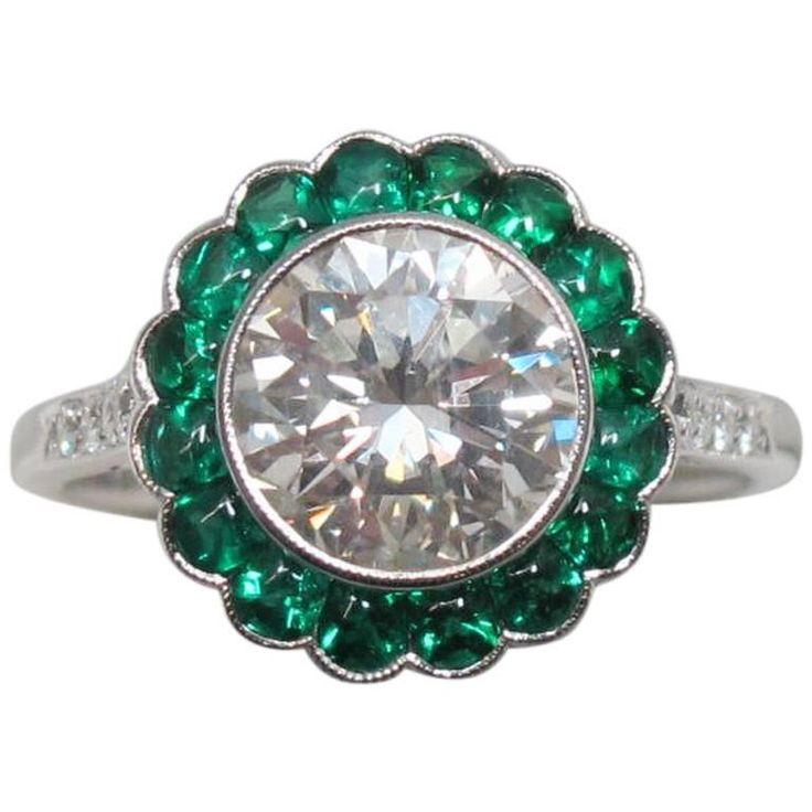 2 Carat Round Brilliant Diamond with Emerald Halo Platinum Engagement Ring 1