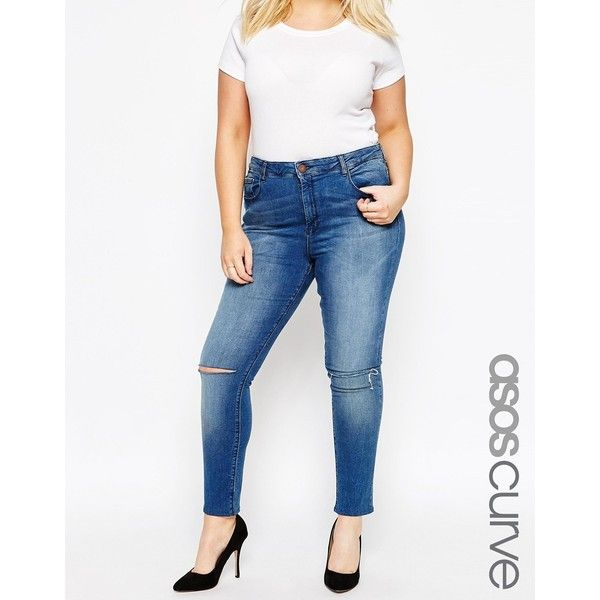 ASOS CURVE Ridley Ankle Grazer Jeans in Mid Wash with Ripped Knee ($24) ❤ liked on Polyvore featuring jeans, blue, plus size, ripped skinny jeans, white ripped skinny jeans, distressed skinny jeans, super skinny jeans and plus size high waisted skinny jeans