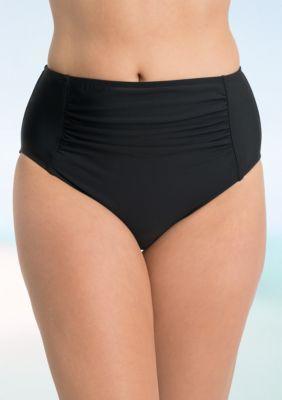 Shapesolver Women's Shirred High Waist Swim Bottom - Black - 10