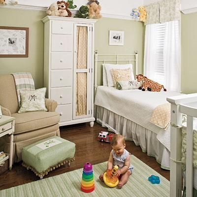 Love the colors,wrap-around shelf, and little armoire!Wall Colors, Guest Room, Shared Room, Mint Green, Kids Room, Twin Beds, Baby Room, Neutral Nurseries, Baby Nurseries