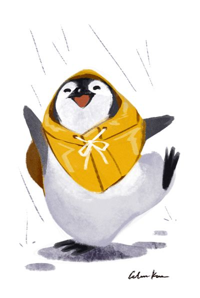 A very Happy Penguin in its raincoat and dancing in the rain - Absolutely Adorable Art of 'Celine Kim' on tumblr ♥≻★≺♥