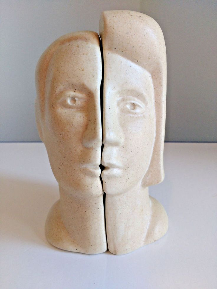 Peter Wright Sculpture Interlocking Male Female Man Woman Busts 1970's Signed #Abstract