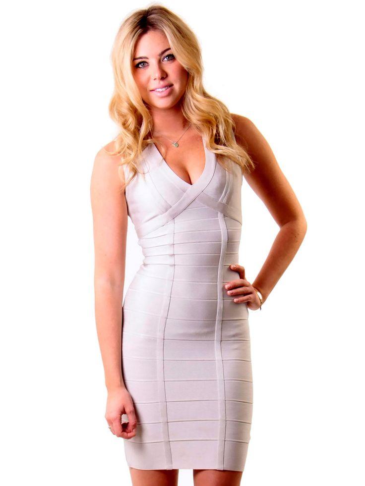 Herve Leger | Bandage Dress in silver www.sabrinascloset.com