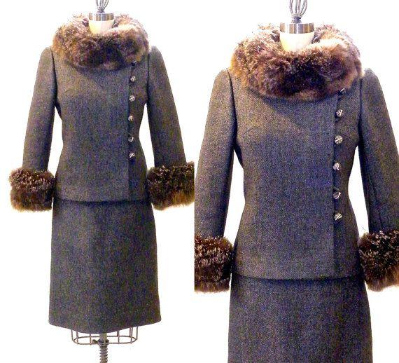 1960s Fur Trim Suit 60s Wool Skirt Suit Vintage Women S