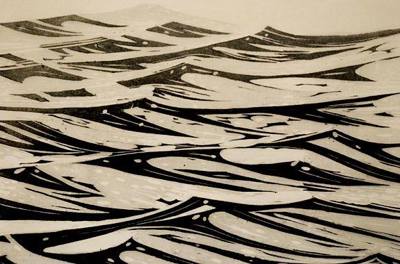 Merlyn Chesterman, ATLANTIC.      woodcut on lime.   45 cm x 40 cm,   on kawanaka paper.   Edition of 10