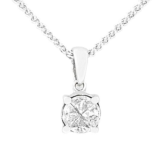 18 CARAT WHITE GOLD PIE CUT DIAMOND PENDANT AND CHAIN