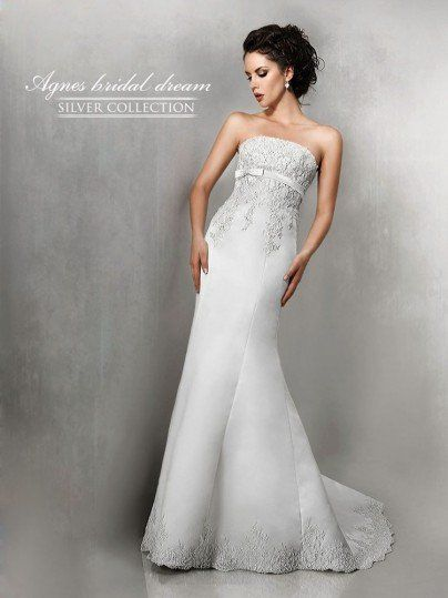 Agnes Bridal Dream 10226 Sample Mermaid Dress With Scallop Lace Size 14